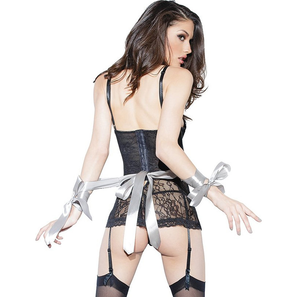 Spellbound Stretch Lace Peplum Corset with Removable Ribbon Belt and Garters Black Silver Small - View #3