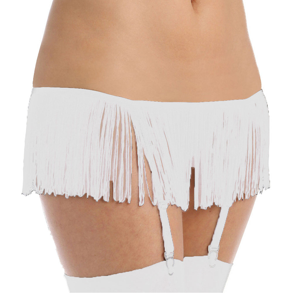 Flirty Fringe Open Front Gartini with Mesh Open Front Panty White One Size - View #1