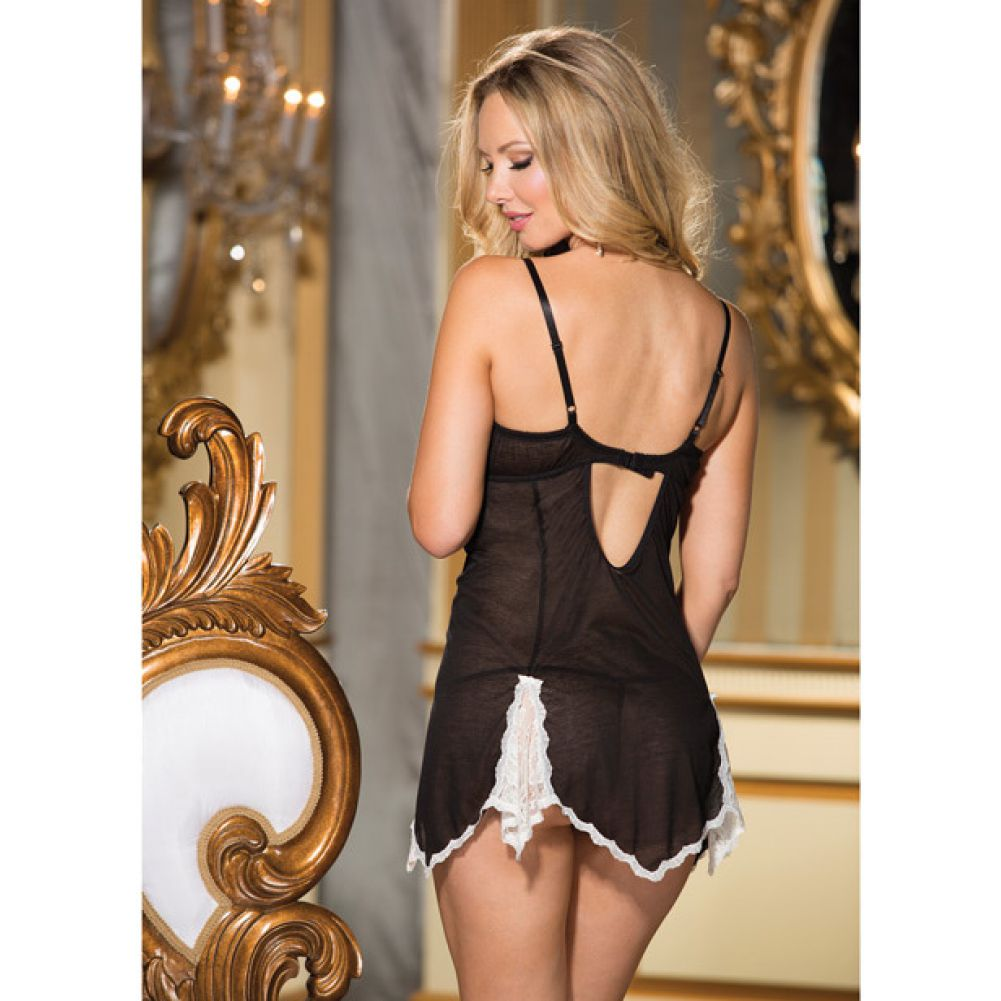 Super Soft Poly Rayon Chemise and G-String Black Medium - View #4