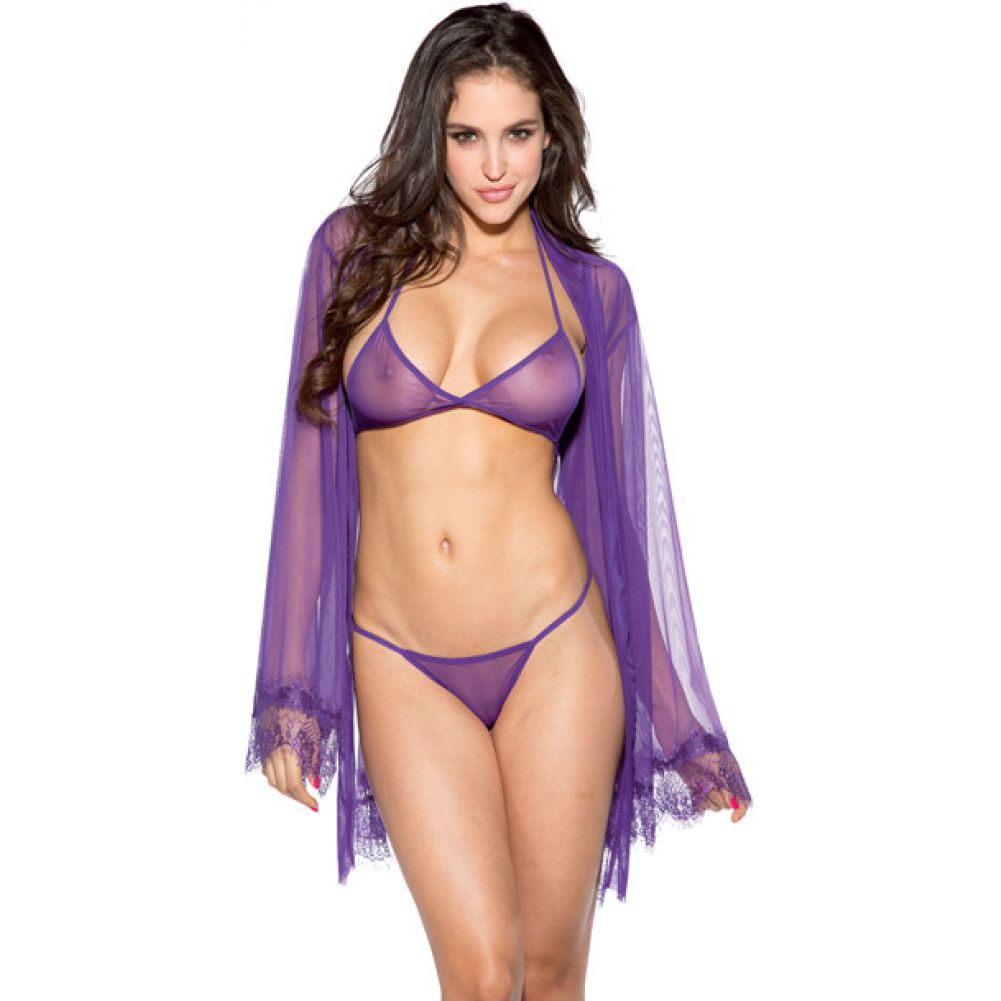 Mesh Robe Set with Lace Trim Bell Sleeves Purple Extra Large - View #1