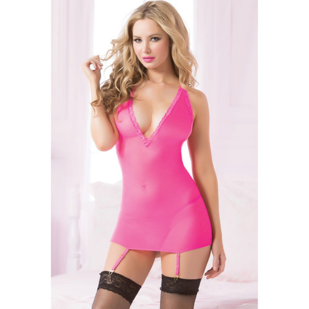 Seven Til Midnight Fishnet Chemise with Corsetry Back and Thong One Size Hot Pink - View #4
