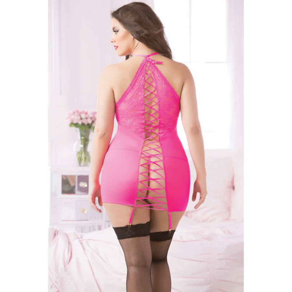 Fishnet and Lace Chemise with Corsetry Back and Thong Set Queen Size Hot Pink - View #3