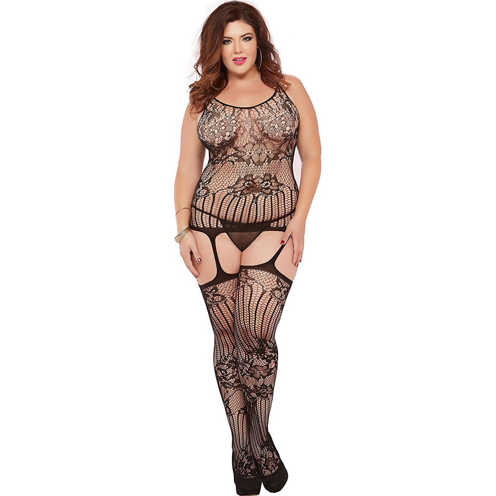 Floral and Swirl Lace Cami Bodystocking with Attached Garters Queen Black - View #1