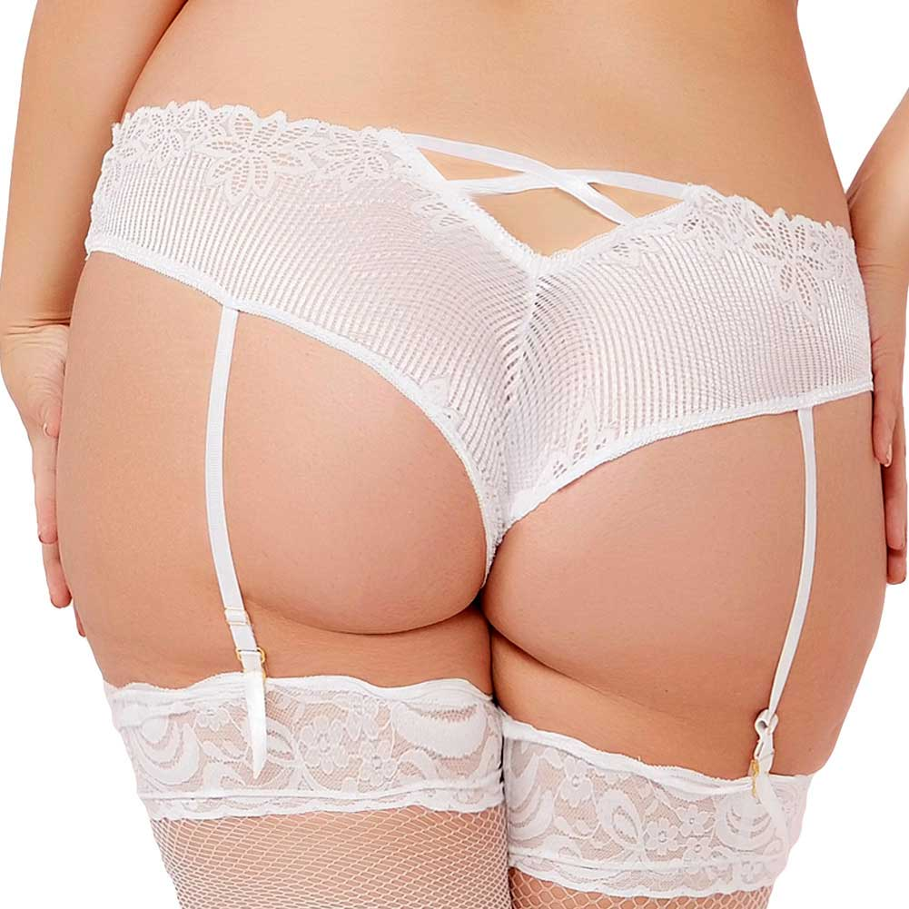 Tropical Lace Panty with Removable Garters 3X/4X Plus Size White - View #2
