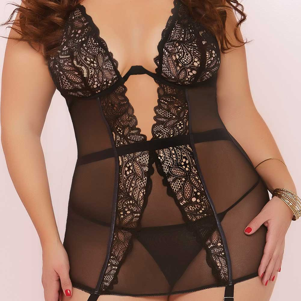 Floral Galloon Lace and Mesh Chemise and Thong Set 1X/2X Black - View #3