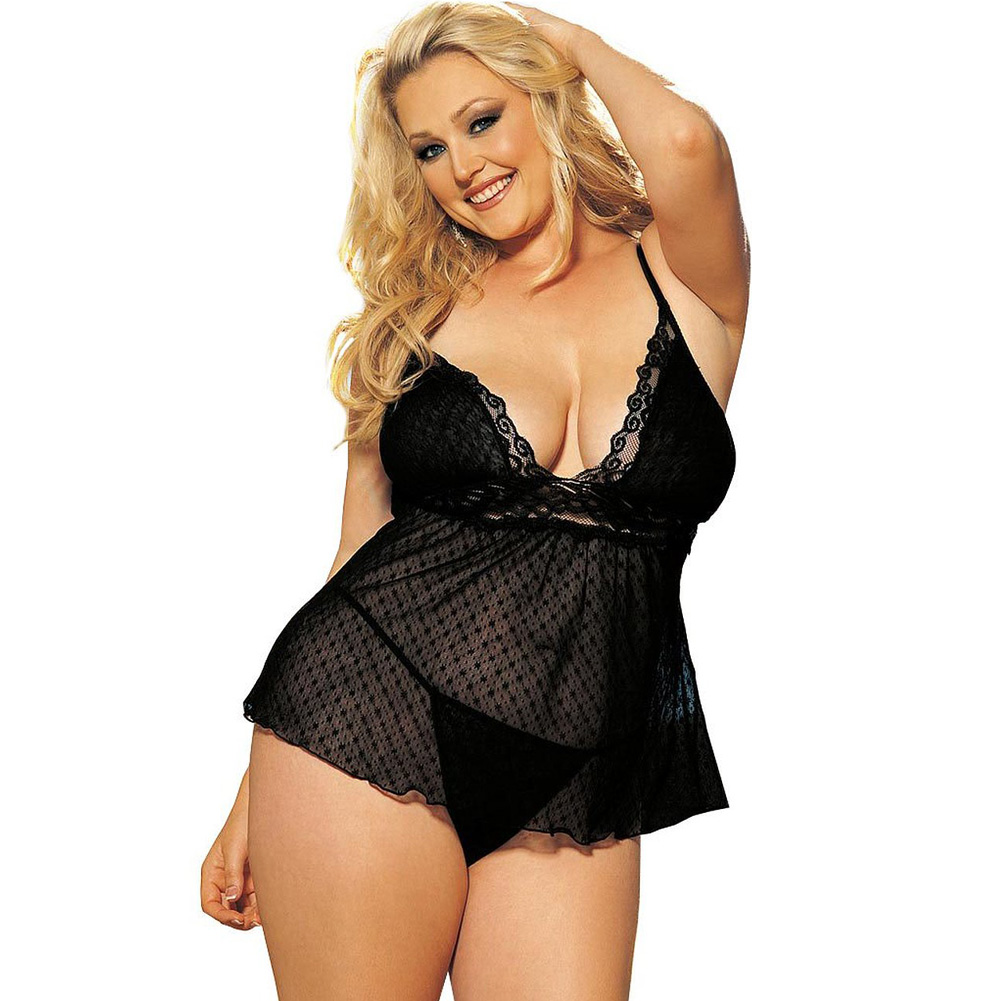 Sheer Babydoll with Lace Black 3X 4X - View #1