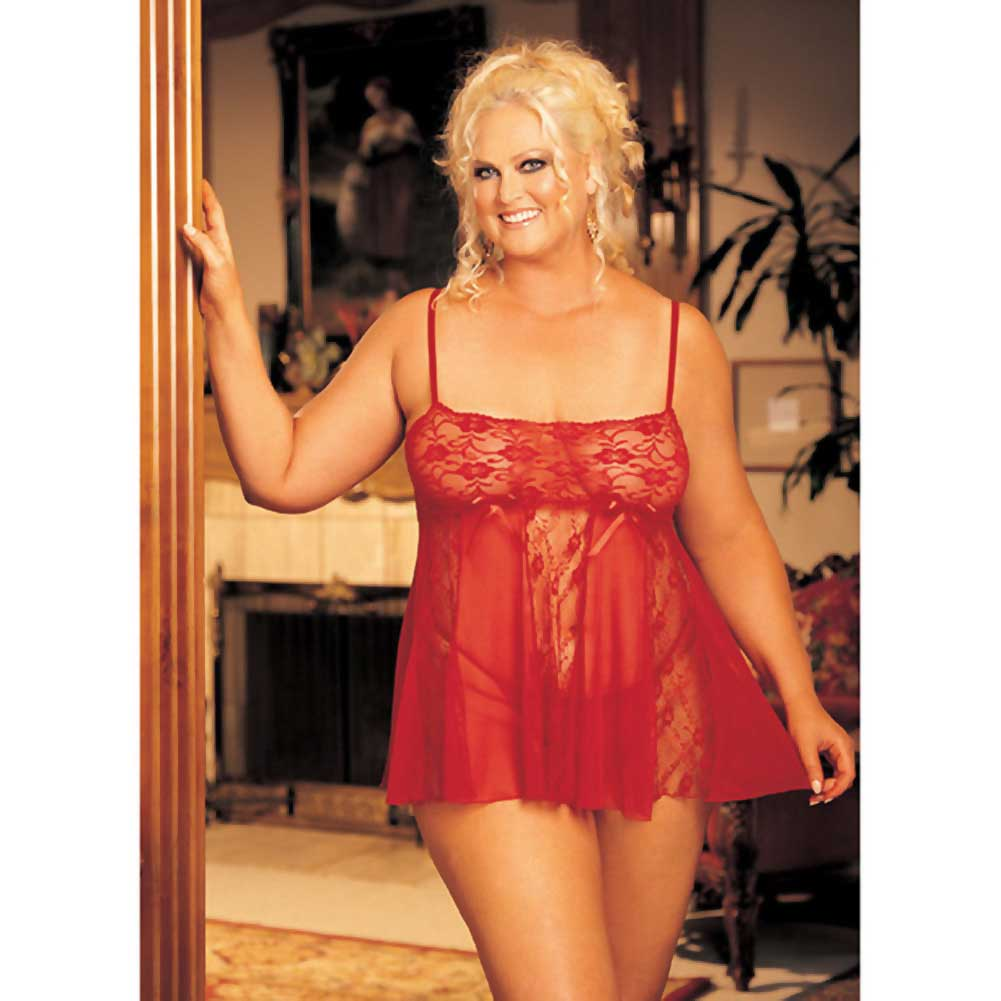 Sheer Babydoll with Lace and Spaghetti Straps Red 3X 4X - View #3