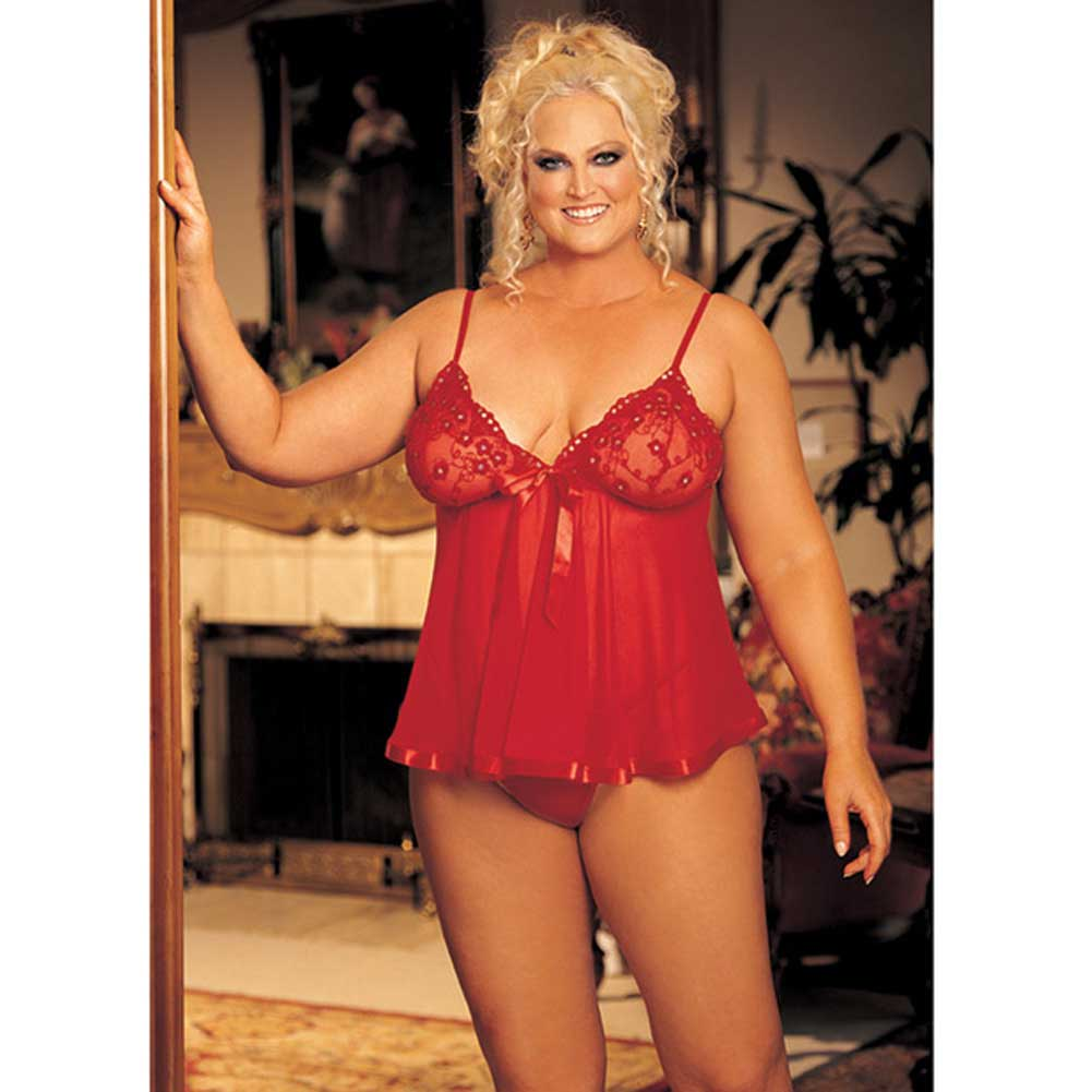 Shirley of Hollywood Sheer Babydoll with Lace Bow and Spaghetti Straps 3X - 4X Red - View #3