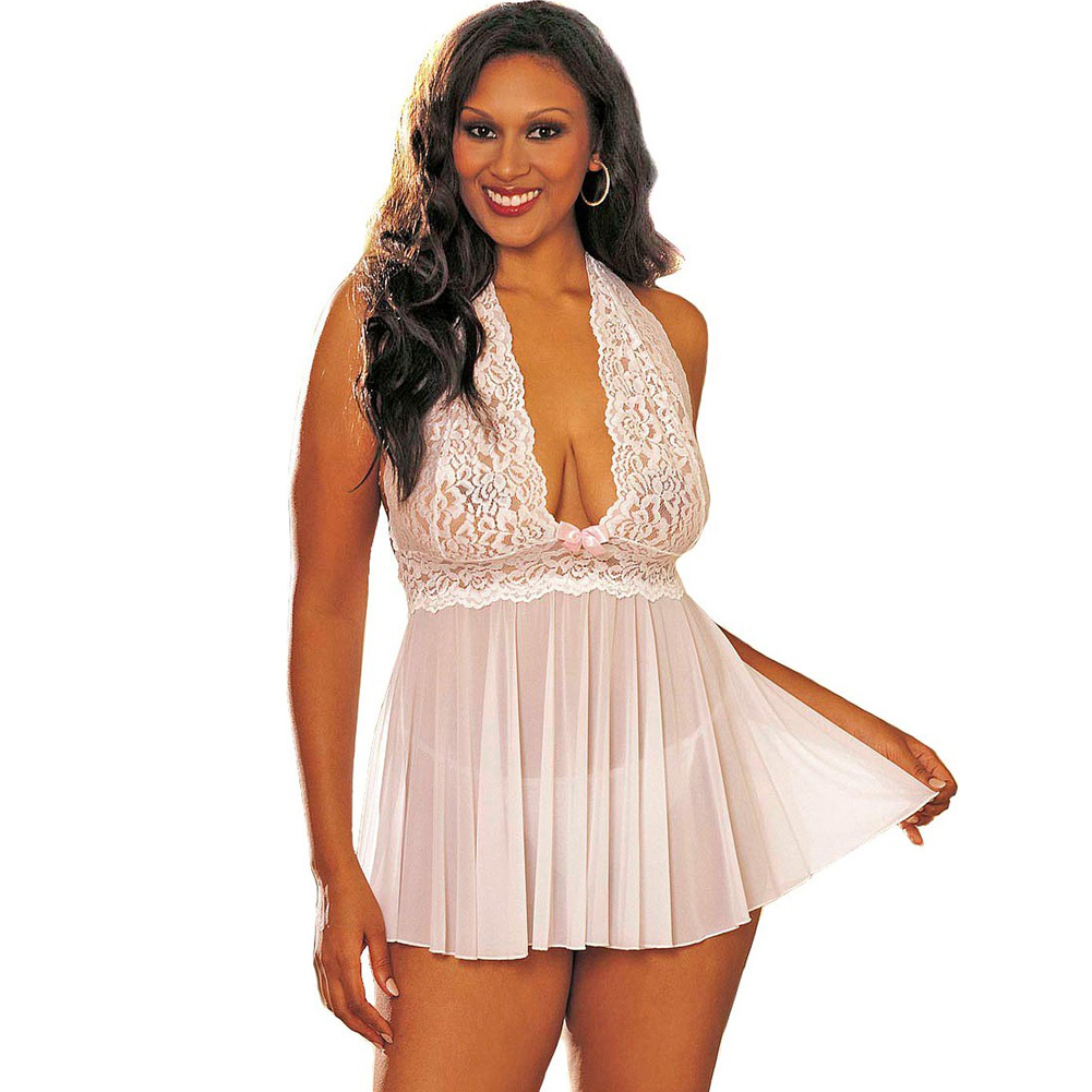 Sheer Halter Babydoll with Lace and Bow White 1X 2X - View #1