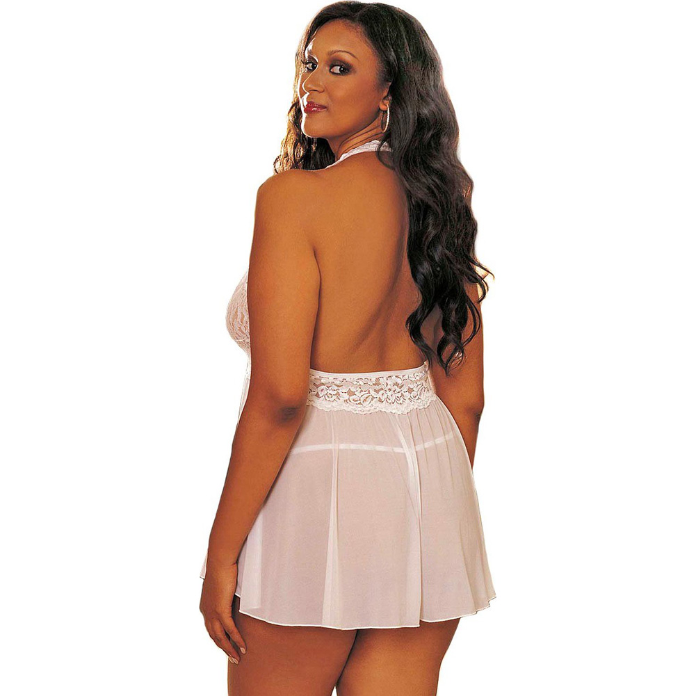 Sheer Halter Babydoll with Lace and Bow White 3X 4X - View #2