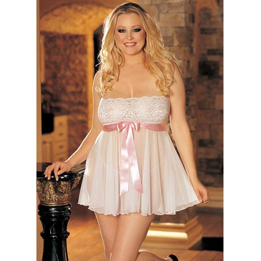 Sheer Strapless Babydoll with Lace and Bow White 3X 4X - View #2
