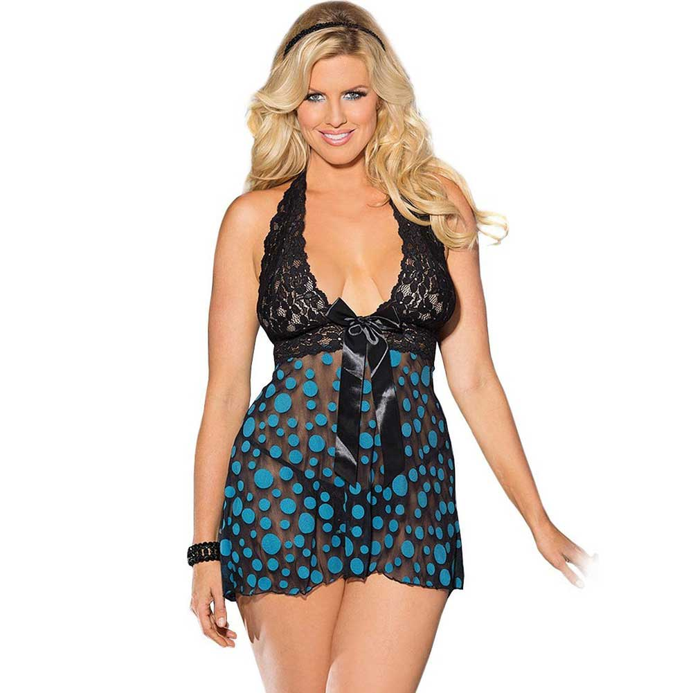Sheer and Lace Babydoll with Bow and Polka Dots Turquoise Black 1X 2X - View #1