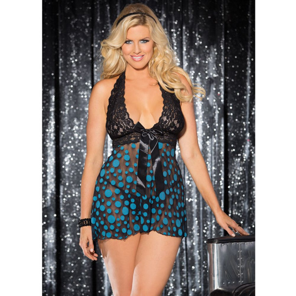 Sheer and Lace Babydoll with Bow and Polka Dots Turquoise Black 1X 2X - View #3