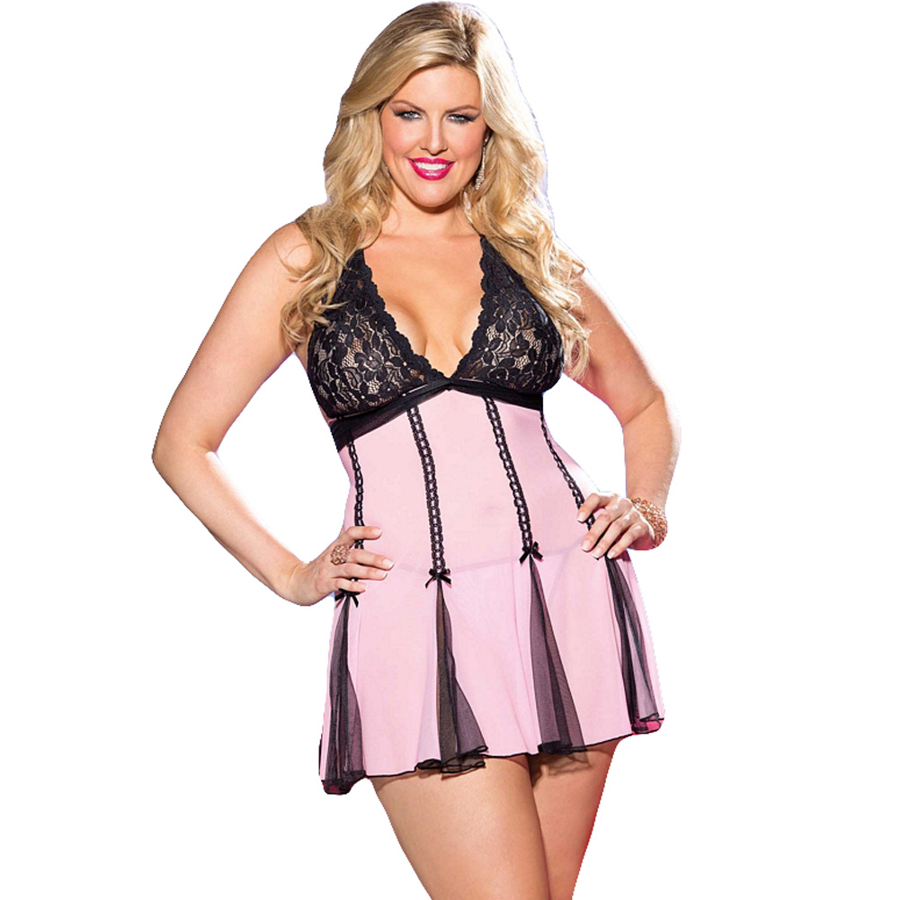 Lace Halter Babydoll with Net and Bows Pink Black 1X 2X - View #1