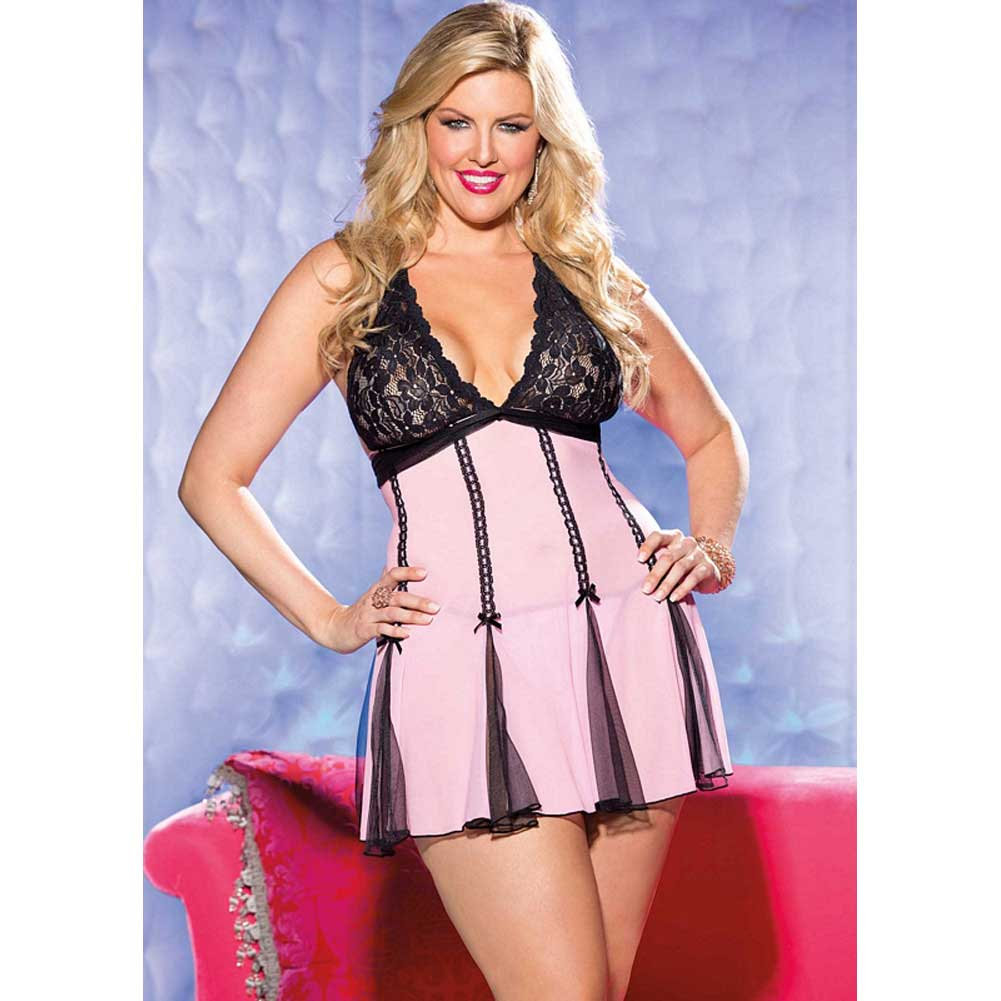 Lace Halter Babydoll with Net and Bows Pink Black 1X 2X - View #3