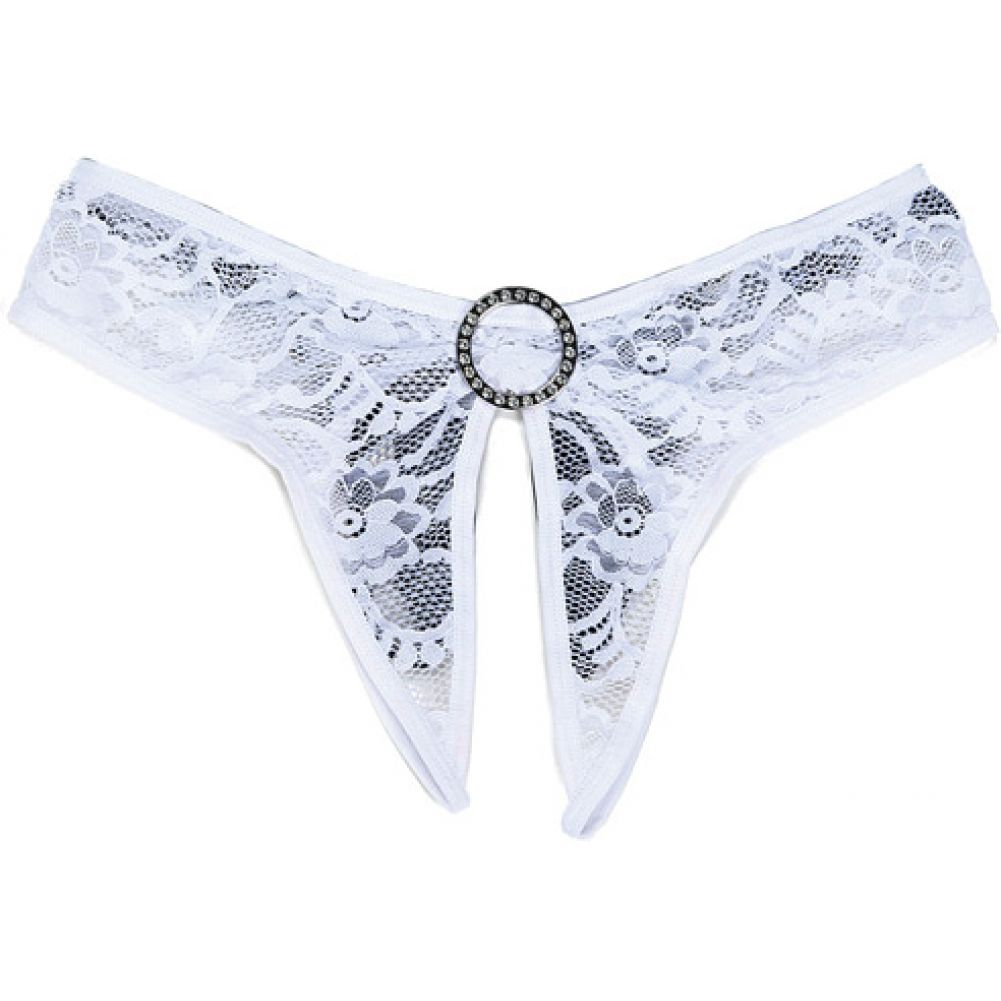 Stretch Lace Open Front and Back Panty White 3X 4X - View #1