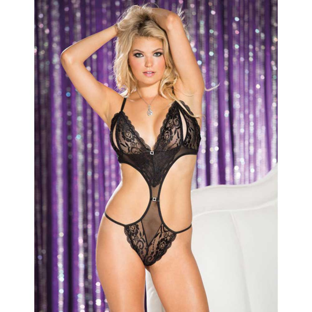 Stretch Lace and Mesh Open Bust Teddy Black Small - View #3