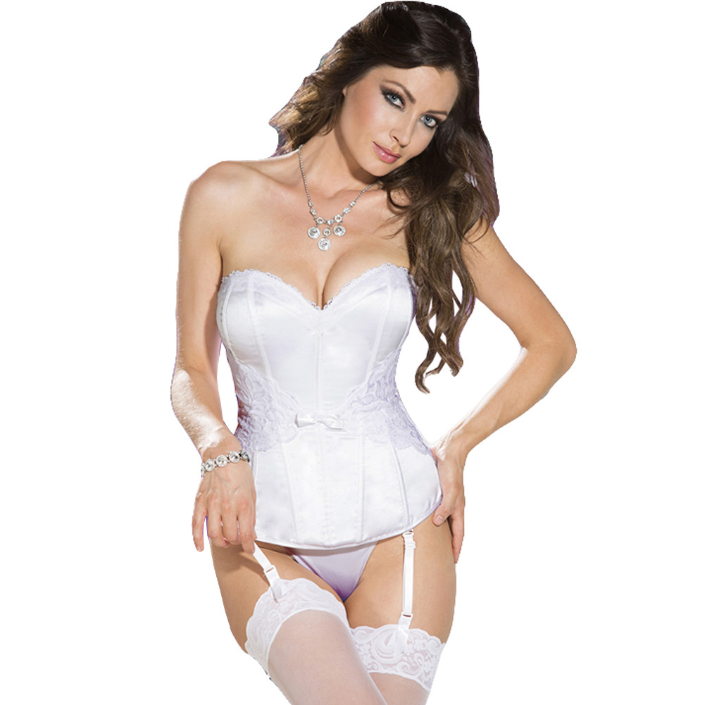 Elegant Satin and Lace Corset with Adjustable and Removable Garters and G-String White 32 - View #1