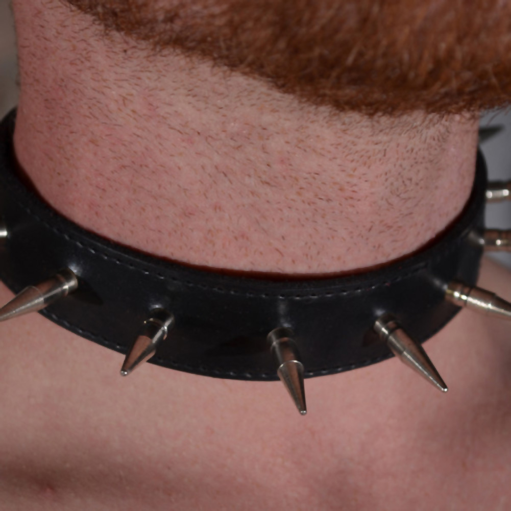 "Rouge Garments Spiked Collar with 1"" Spikes Black - View #1"