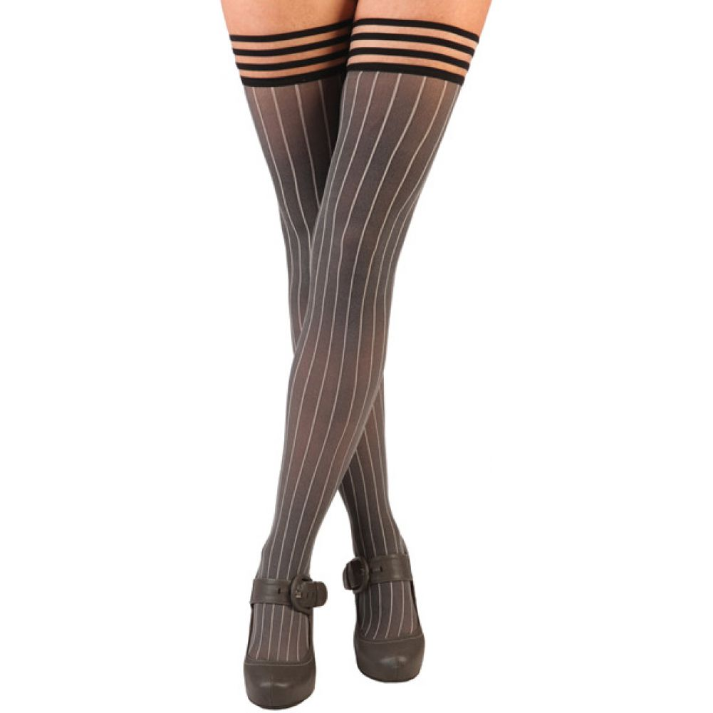 KixIes Annabelle Pinstripe Thigh High Tights Size B Grey - View #1