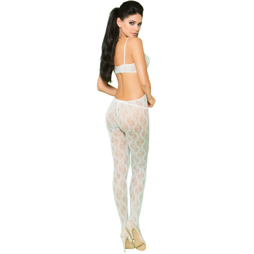 Vivace Lace Bodystocking with Open Crotch and Satin Bow Detail Mint Green One Size - View #2