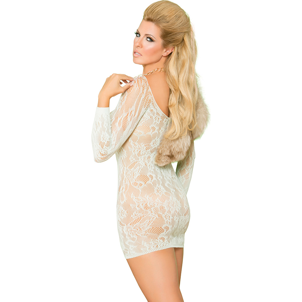 Vivace Long Sleeve Lace Mini Dress with Lace Up Front Mint Green Queen - View #2