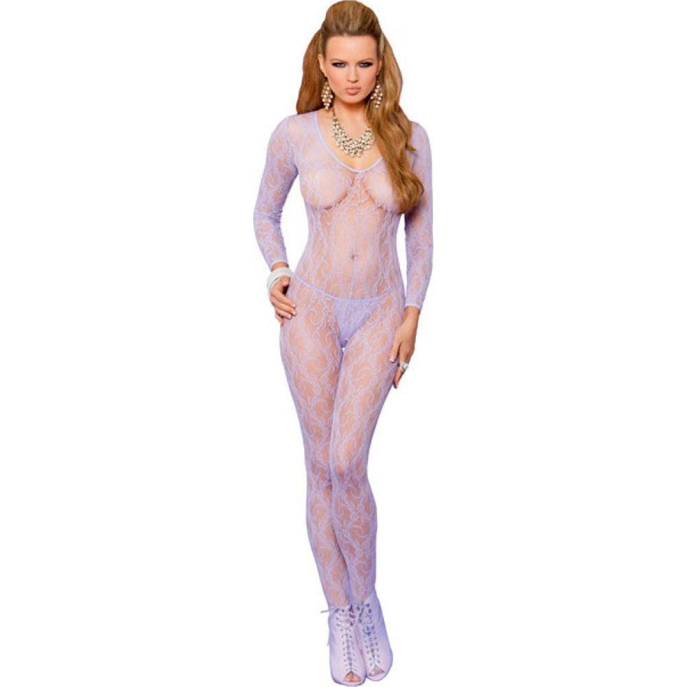 Vivace Long Sleeve Lace Bodystocking with Open Crotch Lilac One Size - View #1