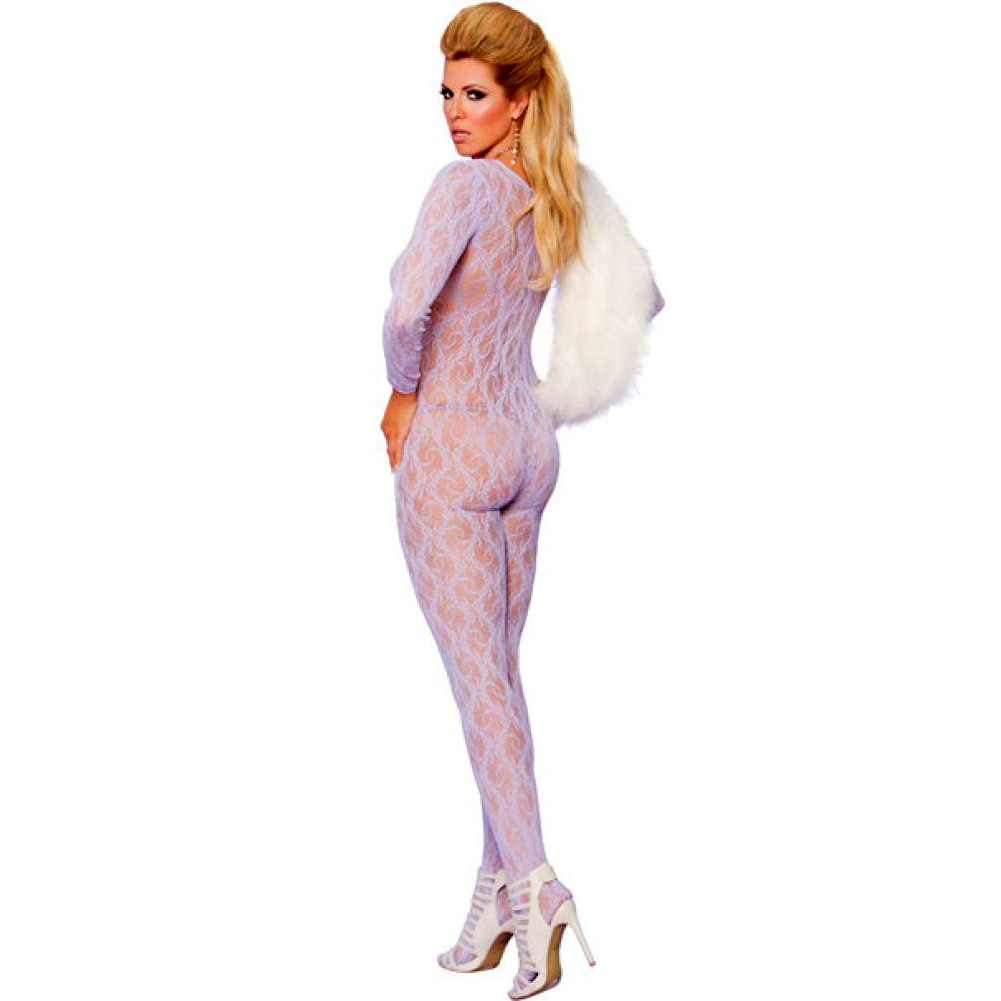 Vivace Long Sleeve Lace Bodystocking with Open Crotch Lilac Queen - View #2