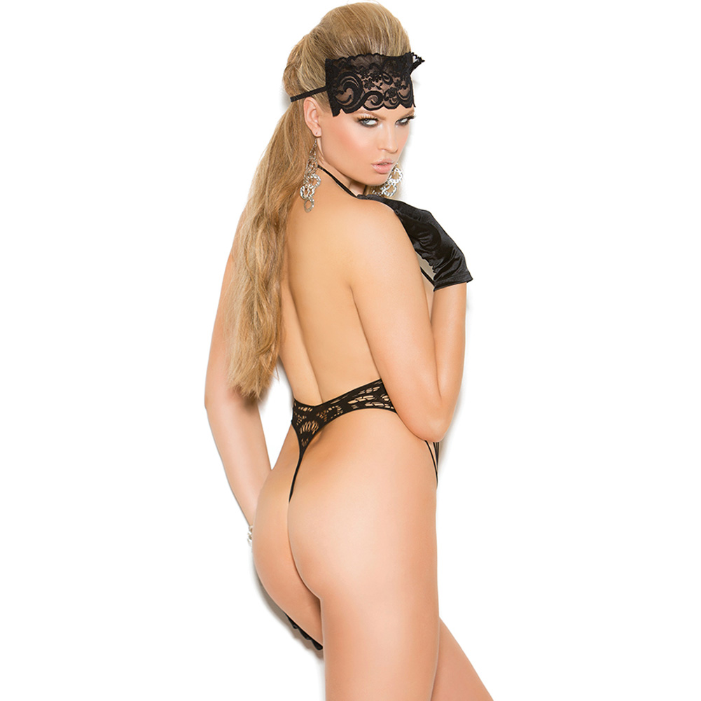 Vivace Lace Teddy and Eye Mask Black One Size - View #2