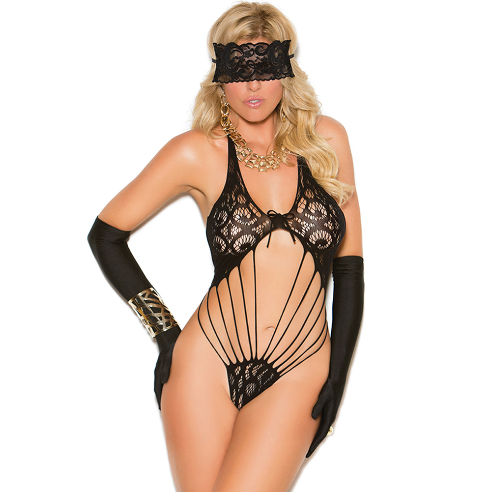 Vivace Lace Teddy and Eye Mask Black Queen - View #1