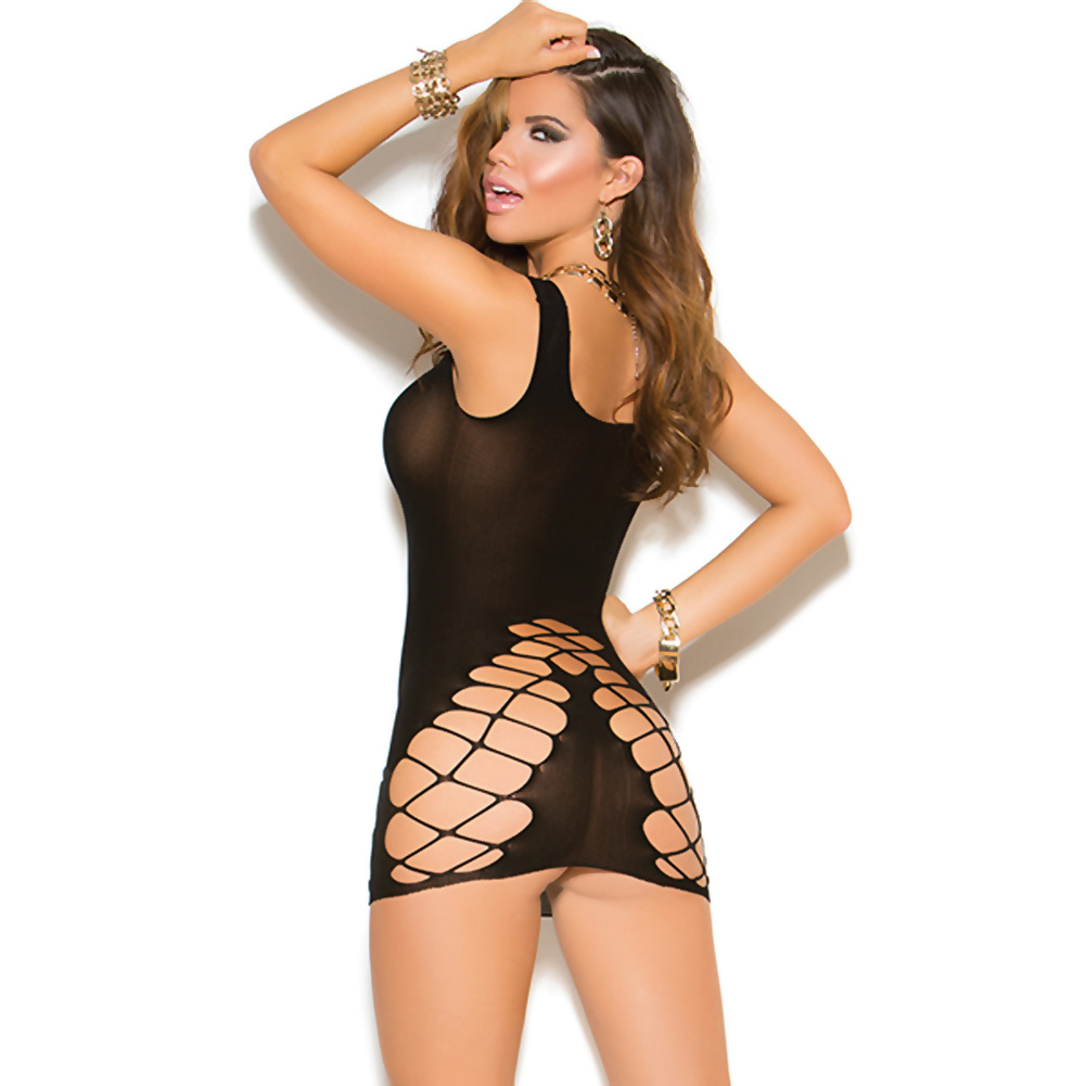 Vivace Seamless Crochet Mini Dress Black One Size - View #2