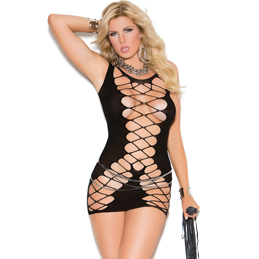 Vivace Seamless Crochet Mini Dress Black Queen - View #1