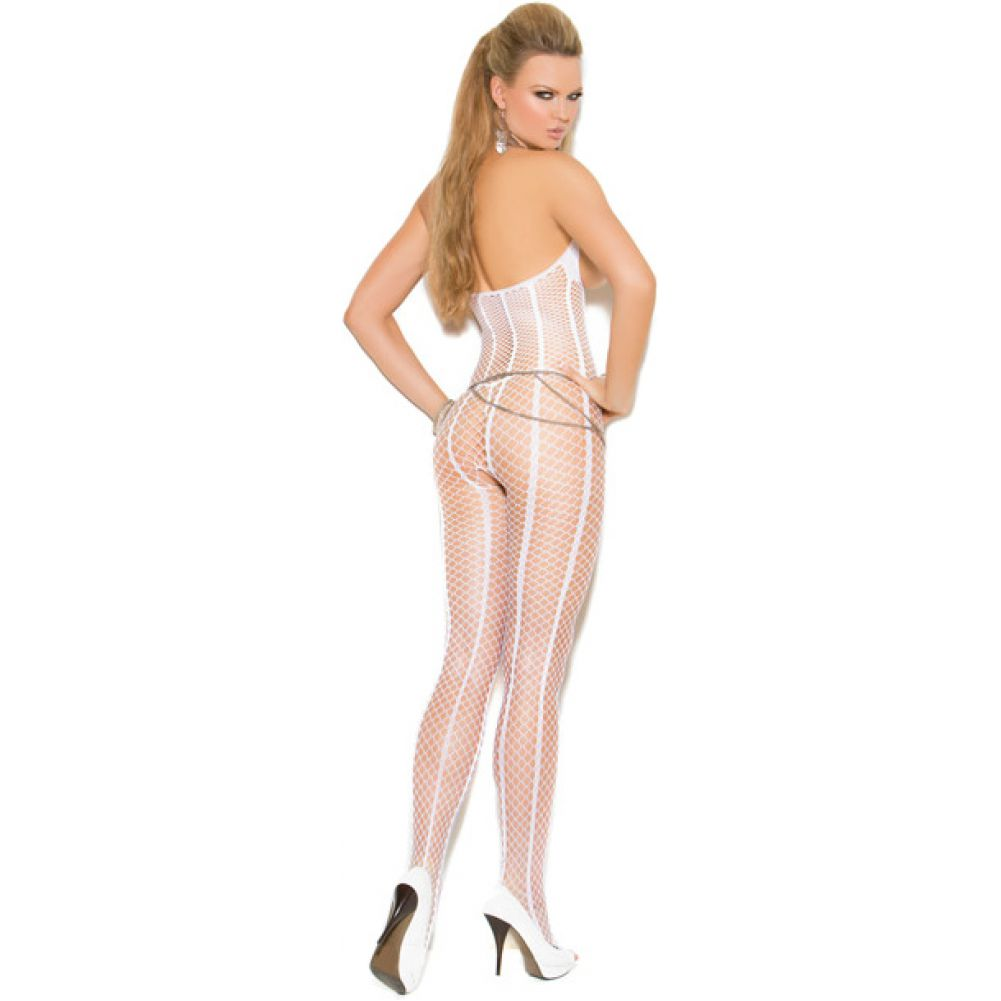 Vivace Open Bust Crochet Bodystocking with Open Crotch White One Size - View #2