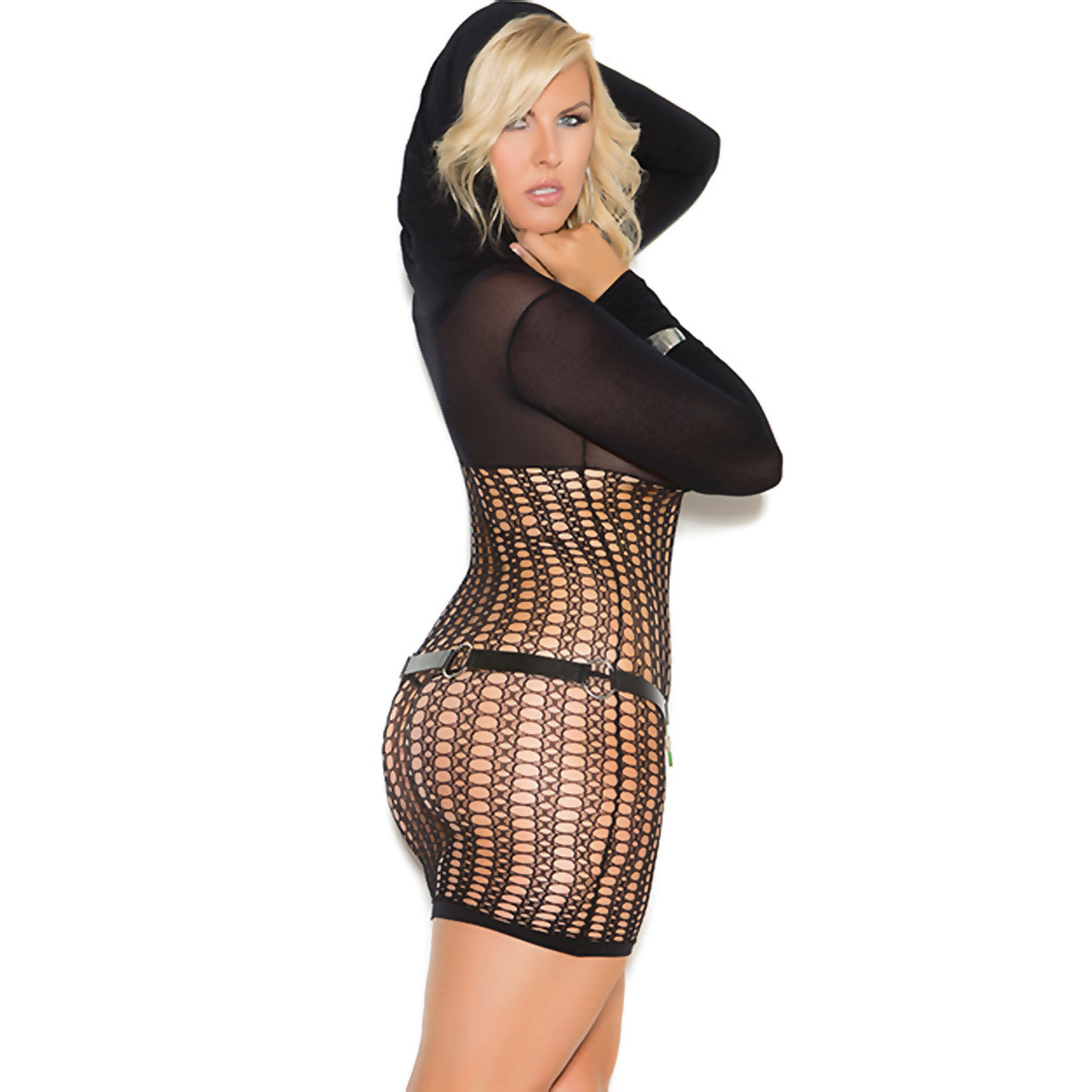 Vivace Crochet Long Sleeve Mini Dress with Hood Black Queen - View #2