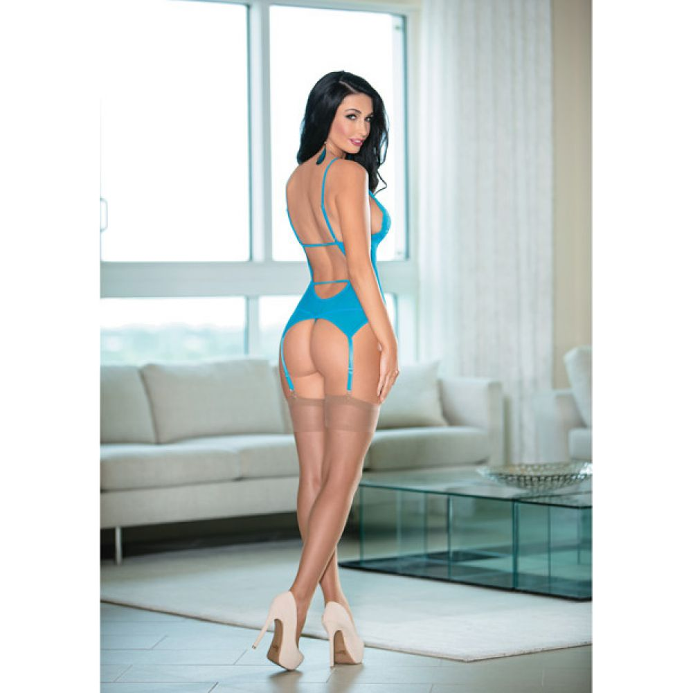 Escante Lace and Mesh Bustier Set with Stockings and Garters One Size Ocean Blue - View #4