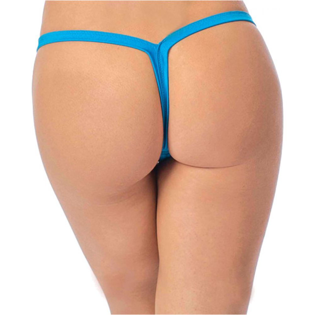 Deep V Back Thong Ocean Blue One Size - View #2