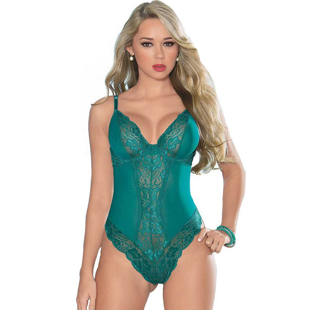 Escante Lace Teddy with Underwire Cups and Open Back Medium Teal - View #1