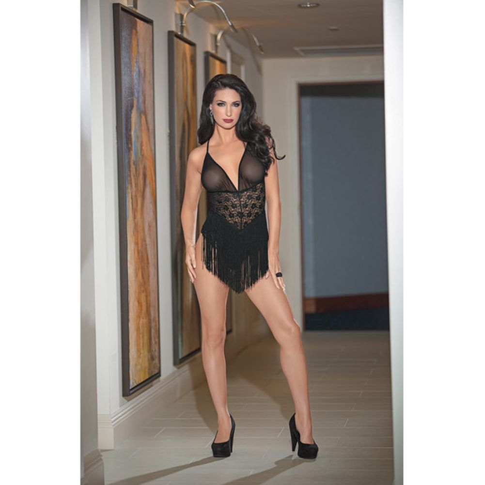 Fringed Front Mesh and Lace Teddy Black Medium - View #1