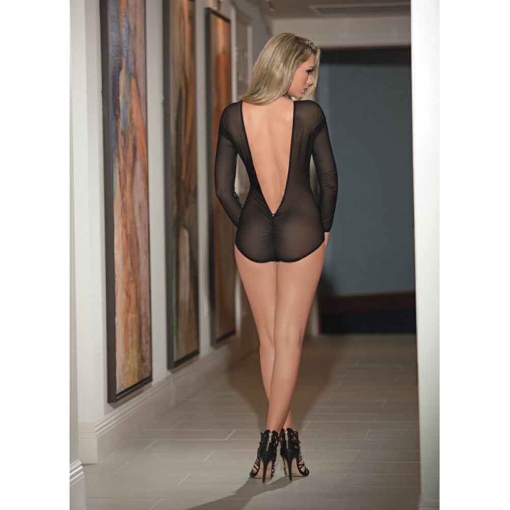 Deep Plunge Front and Back Teddy with Rouched Back Black Small Medium - View #1
