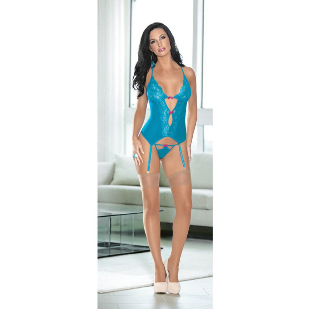 Mesh and Lace Bustier with Hose Ocean Blue Fuchsia Medium - View #2