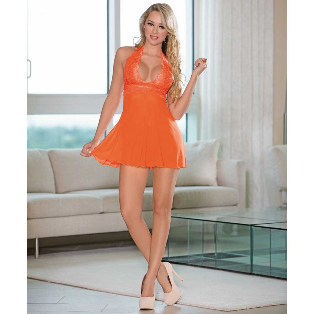 Sheer Halter Tie Baby Doll with Lace Sunset Medium - View #3