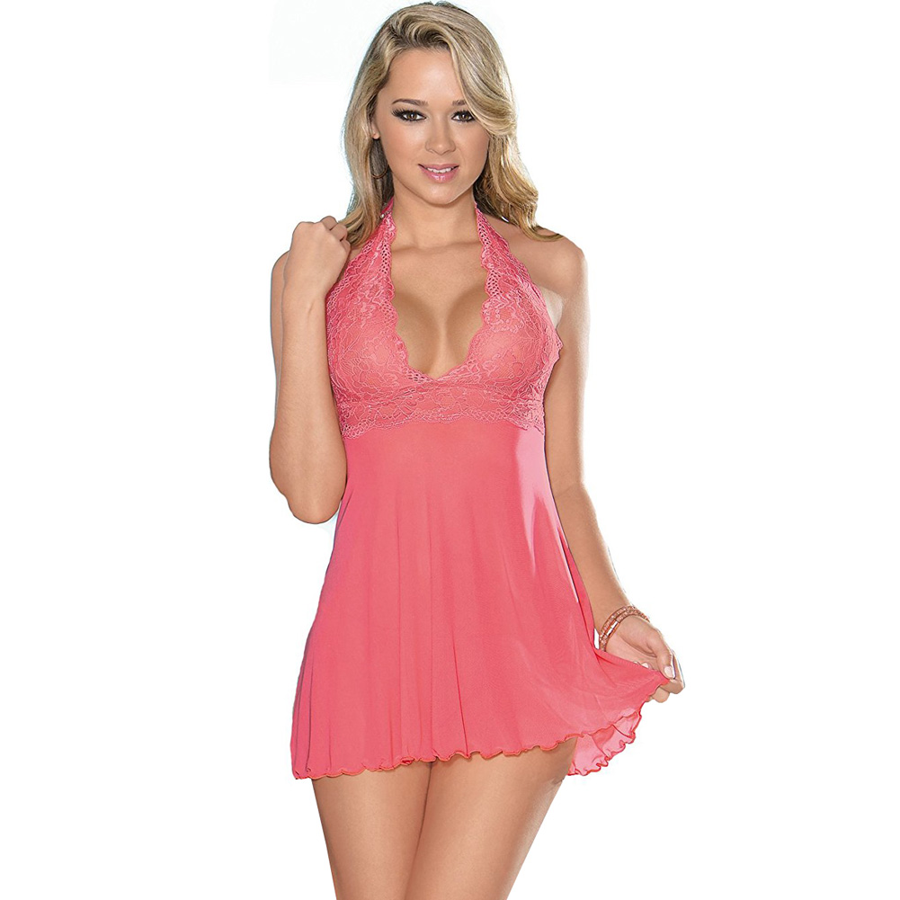 Sheer Halter Tie Baby Doll with Lace Coral Pink Medium - View #1