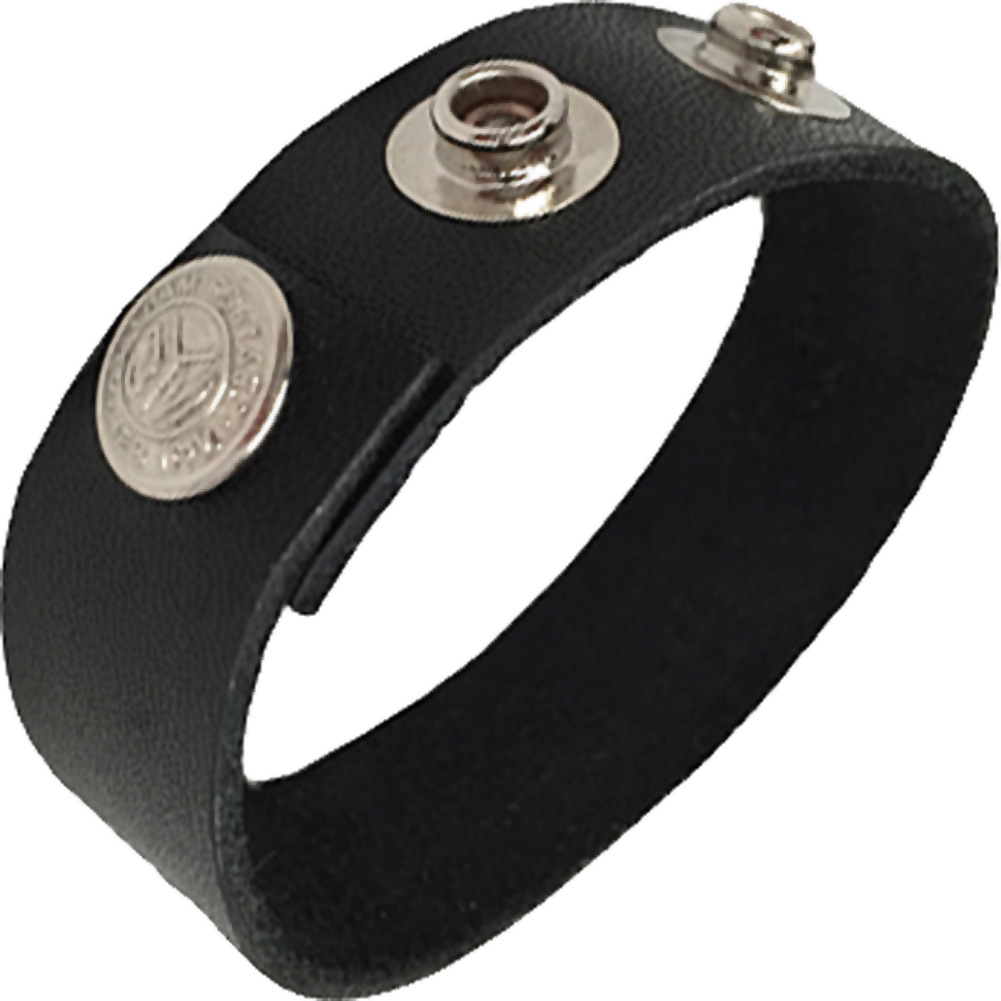 Rock Solid Adjustable 3 Snap Cock Ring Black - View #2