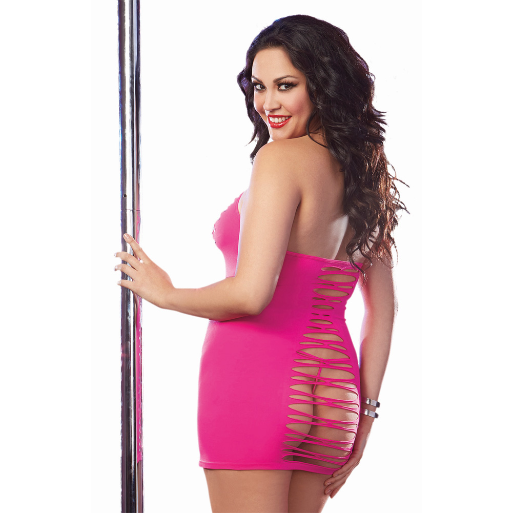 Dreamgirl Seamless Halter Dress Adjustable Neck Ties G-String Neon Pink QS - View #2