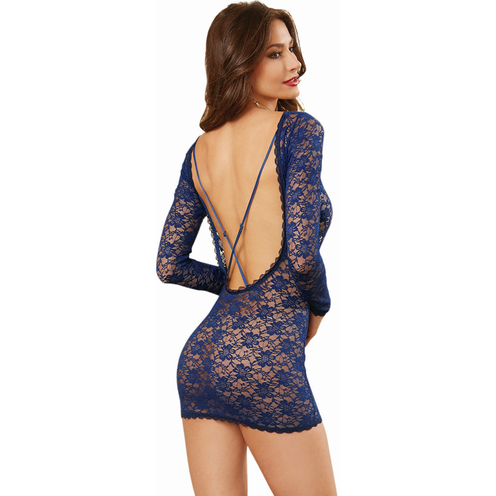 Stretch Lace Long Sleeve Tunic with Open Back and Removable and Criss Cross Stra.. - View #1