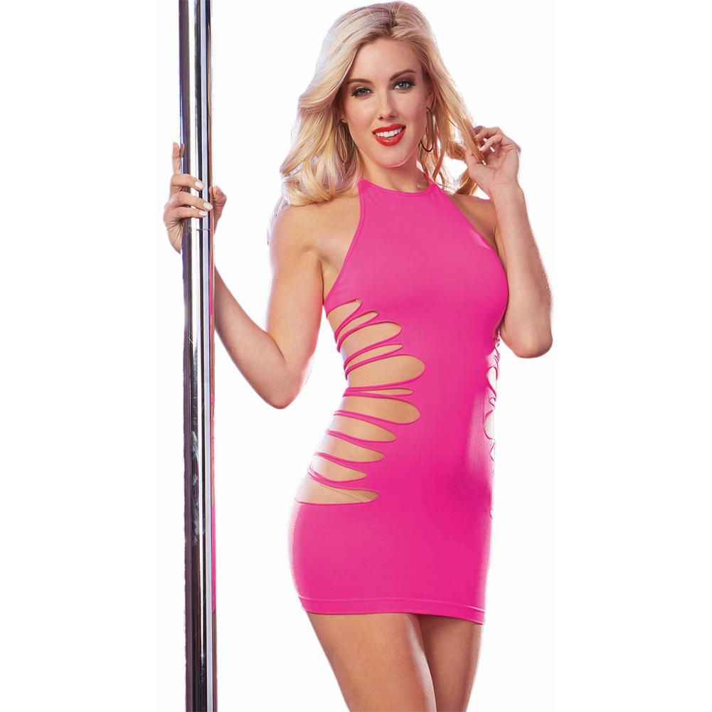 Seamless Halter Dress Side Slash Detail with High Neck Line Neon Pink One Size - View #1