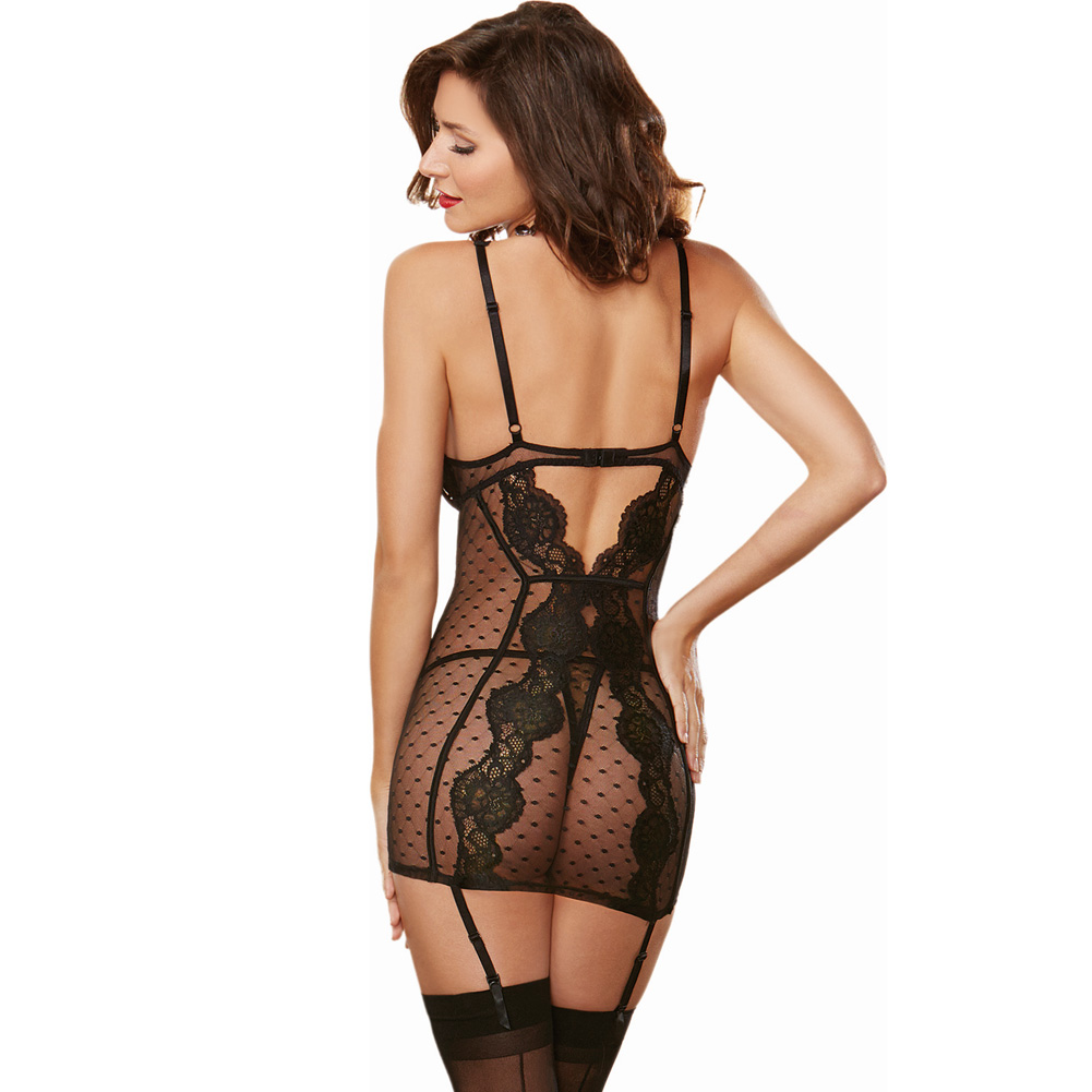 Stretch Mesh Lace Garter Slip with Adjustable Garters and Thong Large Black - View #2