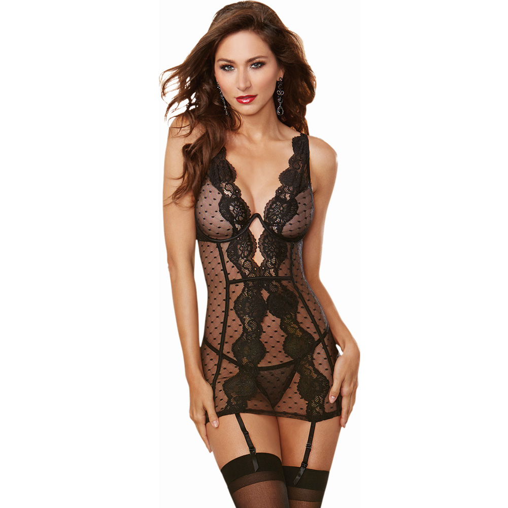 Stretch Mesh Lace Garter Slip with Adjustable Garters and Thong Extra Large Black - View #1