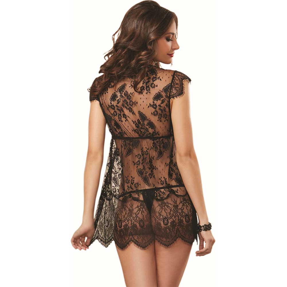 Delicate Allover Lace Robe and Thong Black Small - View #2