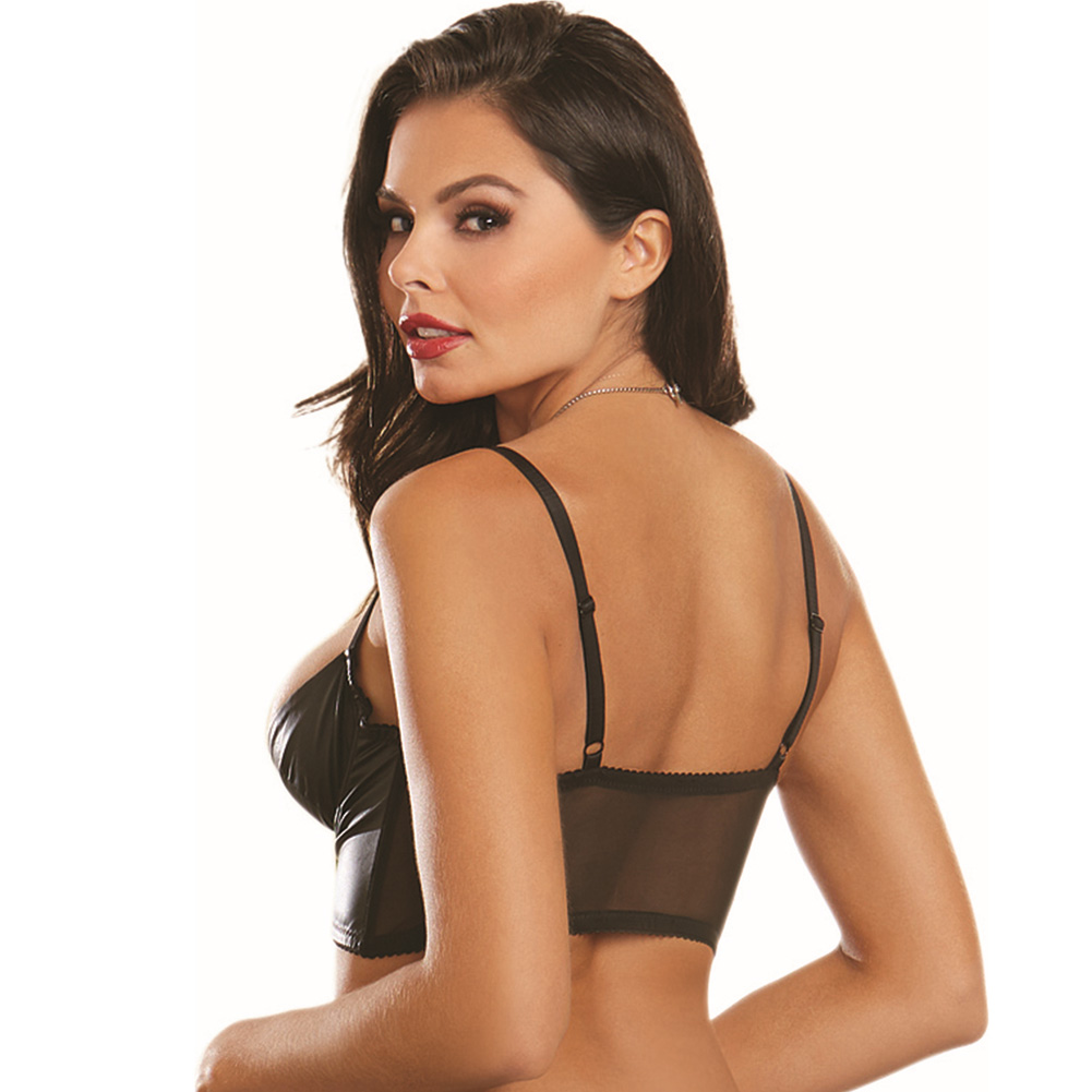 Faux Leather Look Strtch Knit Undrwre Shelf Bustier with Strtch Mesh Back and Ad.. - View #2